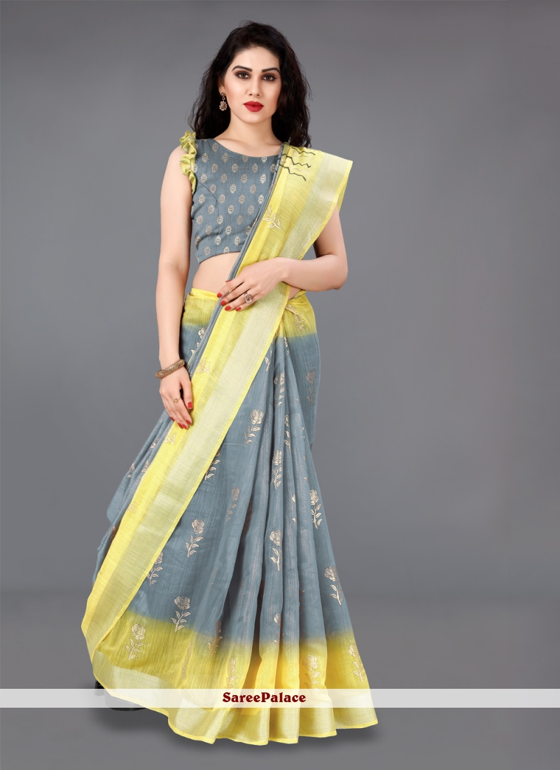 Grey and Yellow Casual Classic Saree