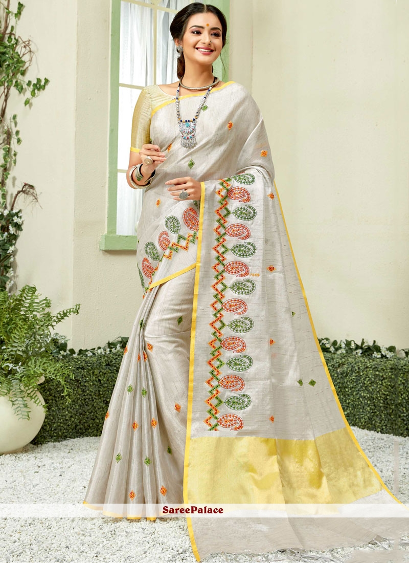 Grey and Yellow Embroidered Fancy Fabric Classic Saree