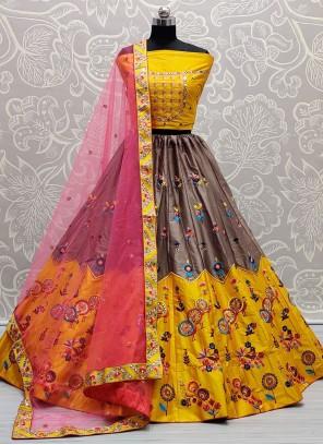 Grey and Yellow Thread Work Silk Lehenga Choli