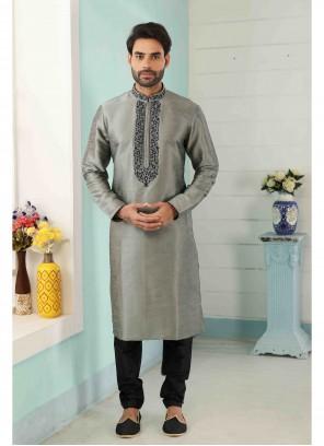 Grey Art Banarasi Silk Embroidered Kurta Pyjama