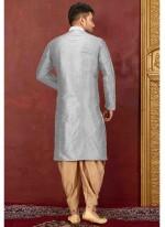 Grey Art Dupion Silk Embroidered Kurta Pyjama