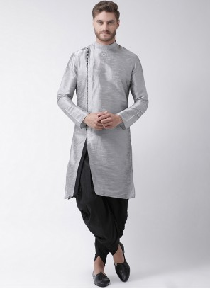 Grey Art Dupion Silk Reception Kurta Pyjama