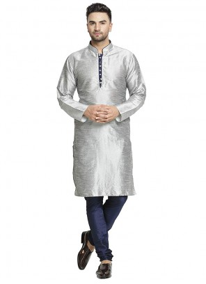 Grey Art Dupion Silk Sangeet Kurta Pyjama