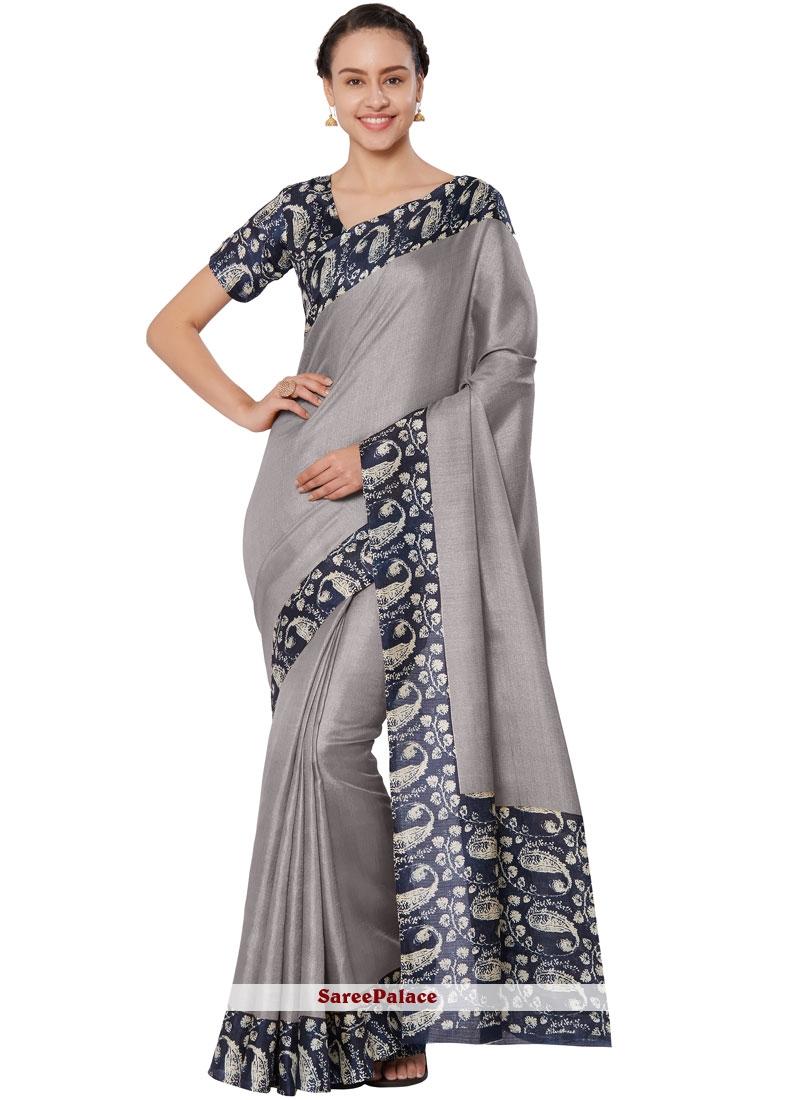 Grey Art Silk Casual Saree
