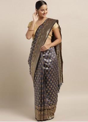 Grey Art Silk Classic Saree