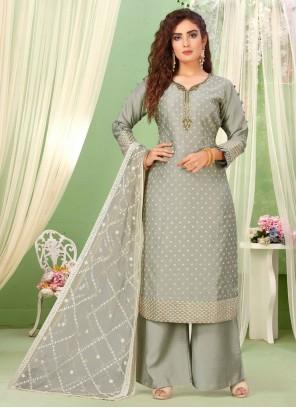 Grey Art Silk Designer Salwar Kameez