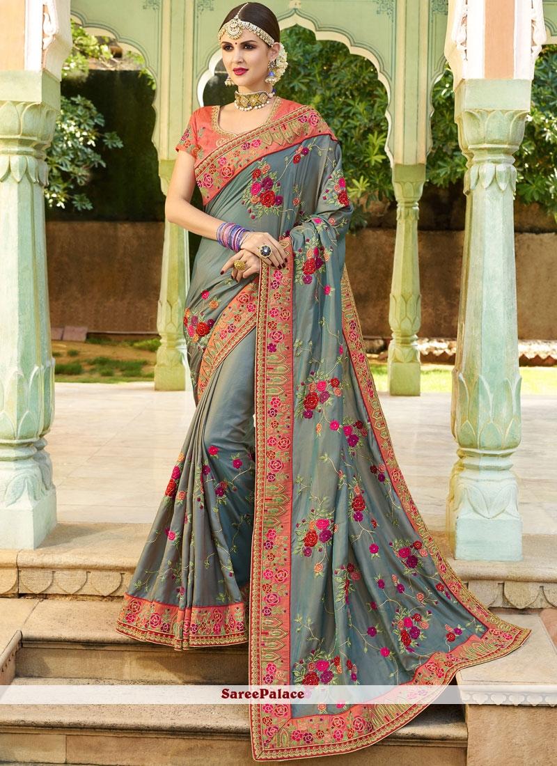 Grey Art Silk Designer Traditional Saree