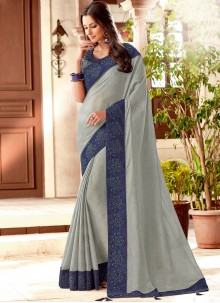 Grey Art Silk Embroidered Designer Traditional Saree