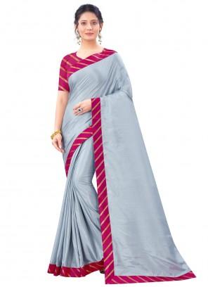 Grey Art Silk Festival Traditional Saree