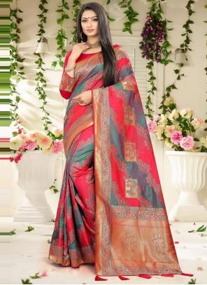 Grey Banarasi Silk Designer Traditional Saree
