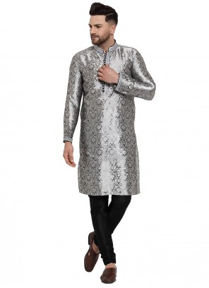 Grey Banarasi Silk Patchwork Kurta Pyjama