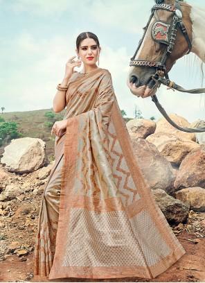 Grey Banarasi Silk Reception Contemporary Saree