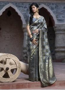 Grey Banarasi Silk Weaving Zari Saree