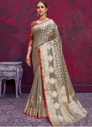 Grey Banarasi Silk Weaving Classic Designer Saree