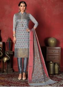 Grey Banarasi Silk Weaving Salwar Suit