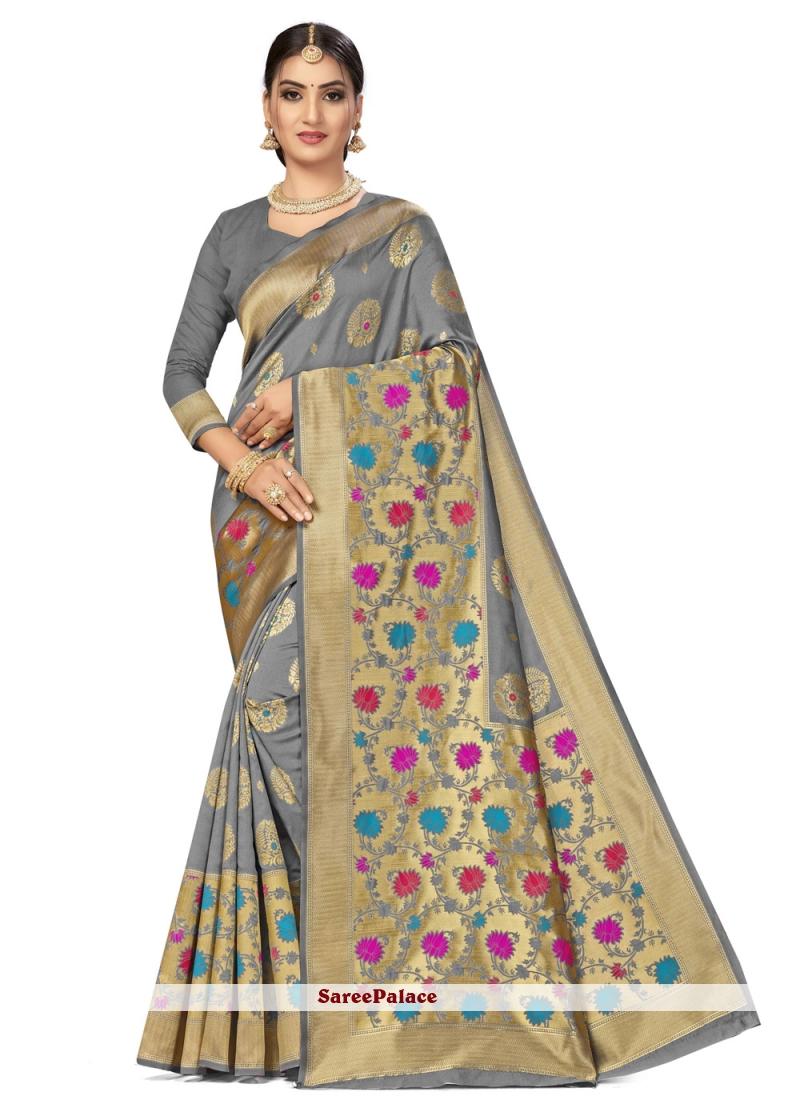 Grey Banarasi Silk Weaving Traditional Saree