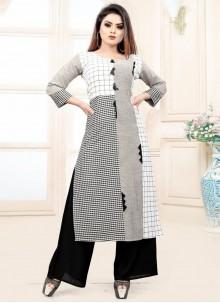 Grey Blended Cotton Fancy Party Wear Kurti