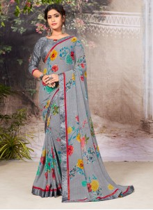Grey Border Faux Georgette Casual Saree