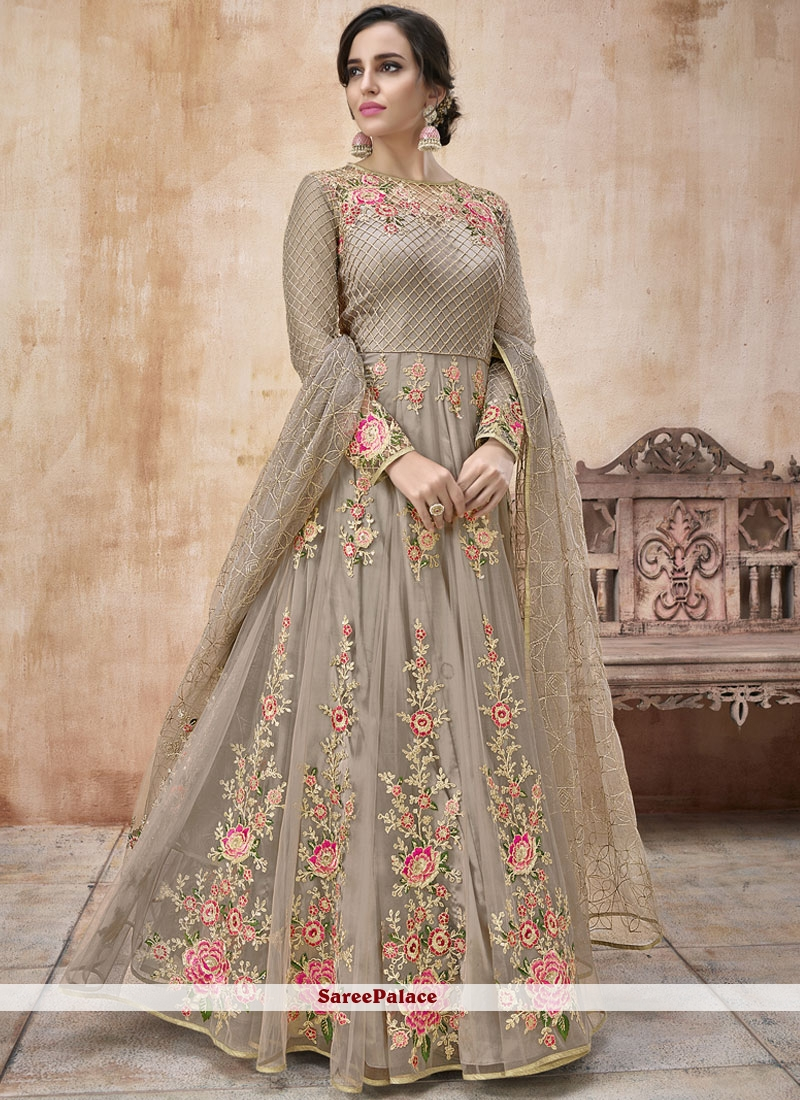 Grey Bridal Floor Length Anarkali Suit