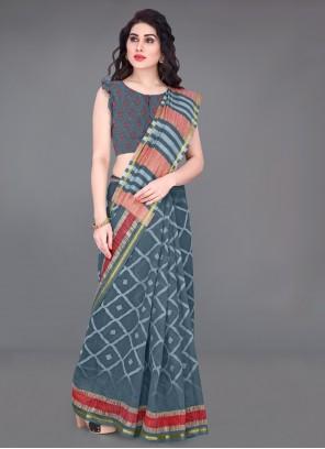 Grey Casual Cotton Printed Saree