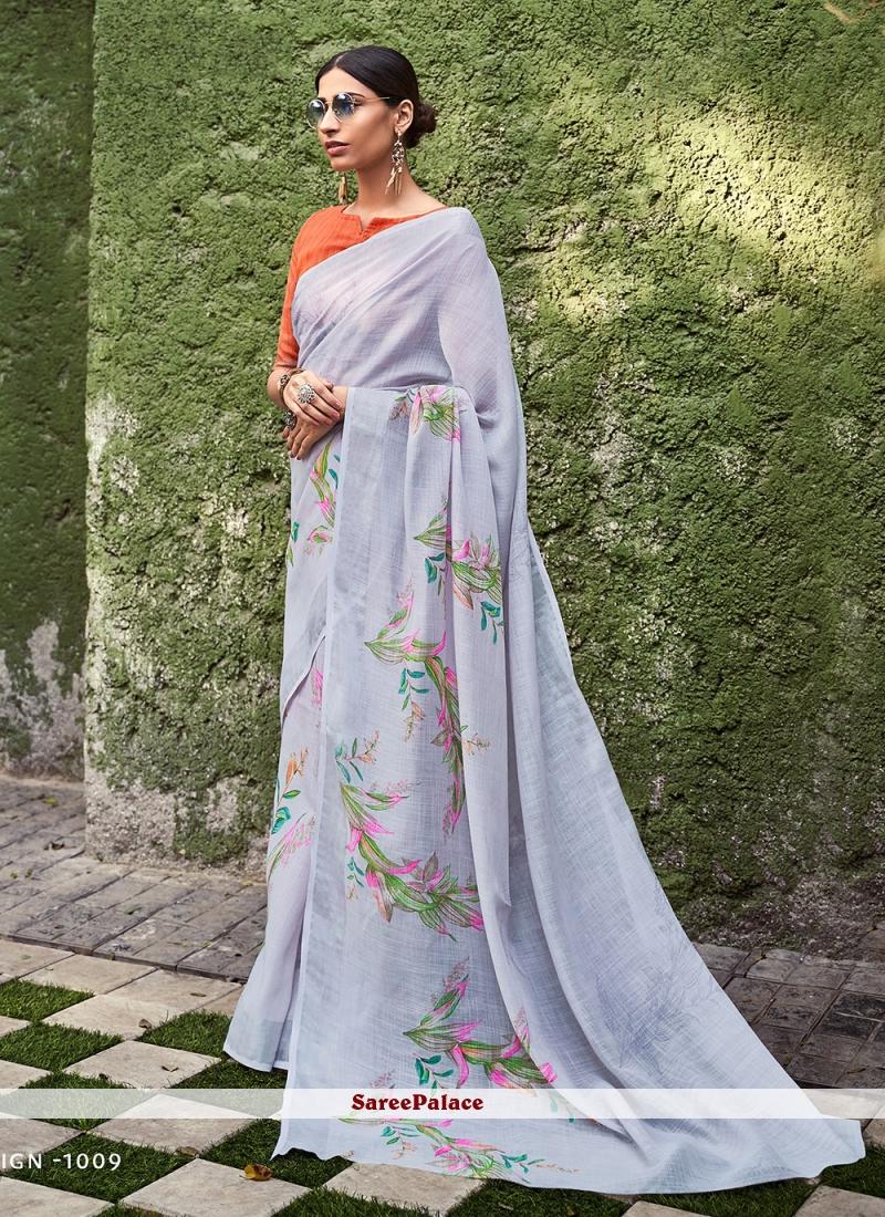 Grey Casual Cotton Silk Saree