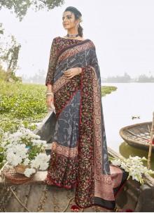 Grey Casual Printed Saree