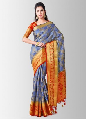 Grey Ceremonial Art Silk Designer Traditional Saree