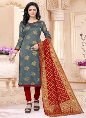 Grey Ceremonial Churidar Salwar Suit