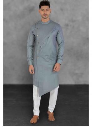 Grey Ceremonial Cotton Kurta Pyjama