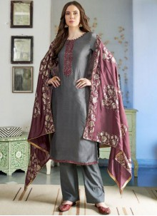 Grey Ceremonial Designer Pakistani Suit