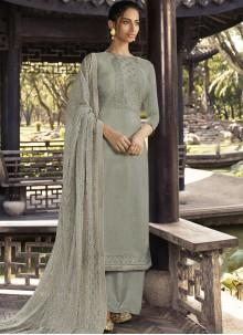 Grey Ceremonial Designer Palazzo Salwar Suit