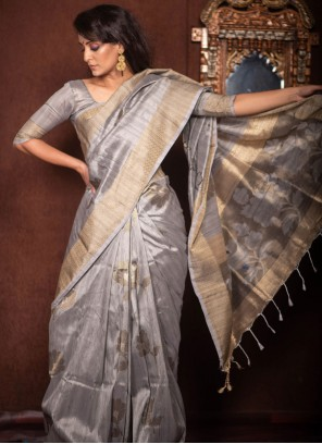 Grey Ceremonial Traditional Designer Saree
