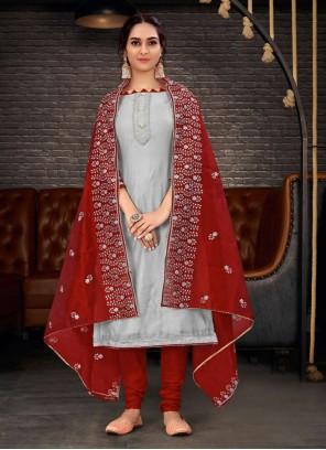 Grey Chanderi Festival Bollywood Salwar Kameez