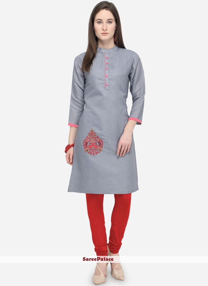 dd8446be63d53 Buy Grey Color Casual Kurti Online