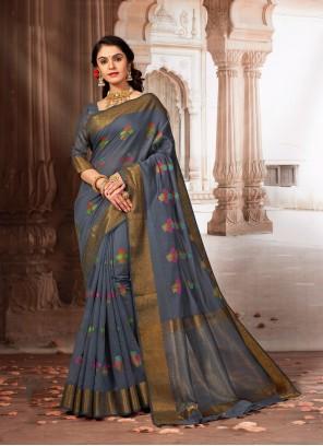 Grey Color Weaving Zari Work Designer Saree