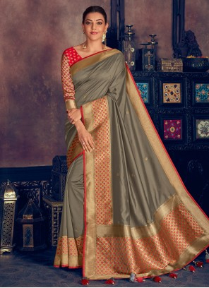 Grey Color Contemporary Saree
