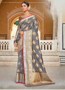 Grey Color Weaving Zari Designer Saree