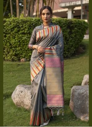Grey Color Designer Traditional Saree