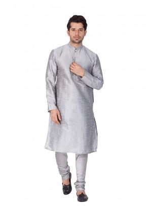 Grey Color Kurta Pyjama