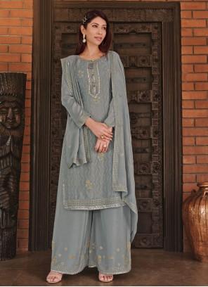 Grey Color Palazzo Designer Salwar Kameez