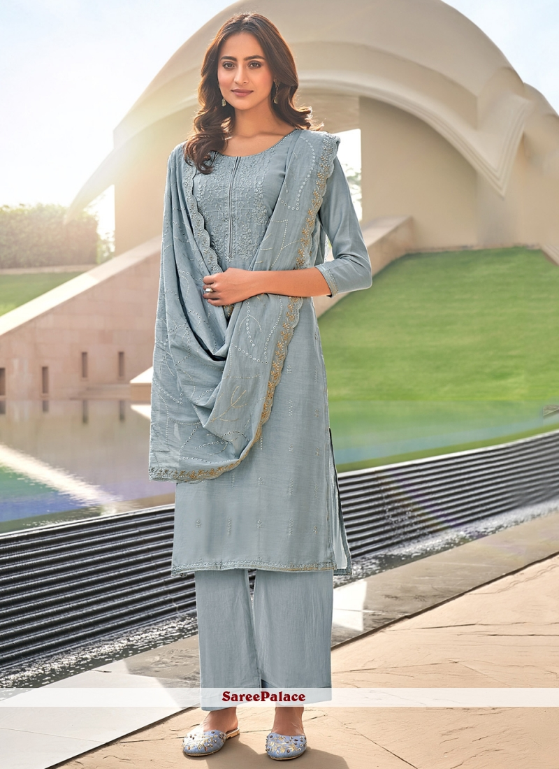 Grey Color Embroidered Pant Style Suit