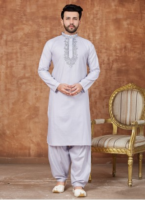 Grey Color Embroidered Cotton Pathani Suits