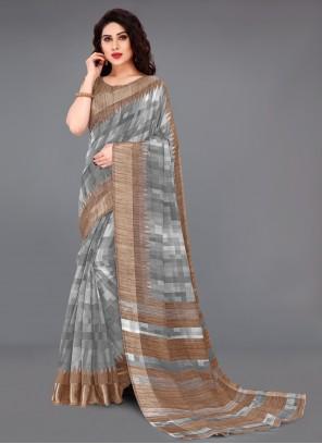 Grey Color Printed Saree