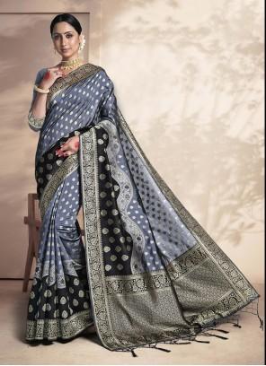 Grey Color Weaving Zari Silk Saree