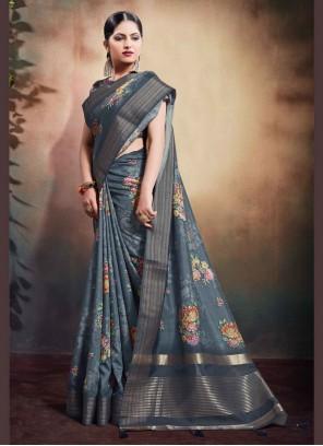 Grey Cotton Classic Designer Saree