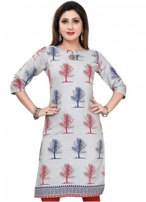 Grey Cotton Designer Kurti