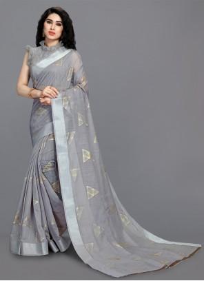 Grey Cotton Festival Printed Saree