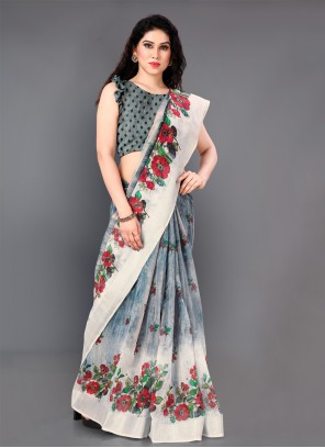 Grey Cotton Printed Casual Saree