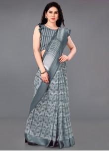 Grey Cotton Printed Classic Saree