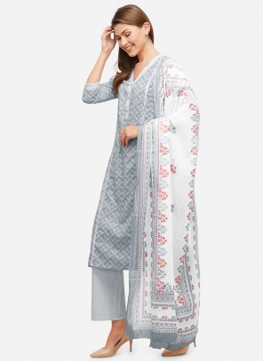 Grey Cotton Readymade Suit